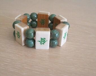 Mahjong bracelet using bone and bamboo tiles