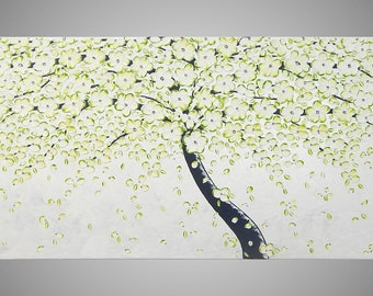 Tree Painting Abstract Acrylic Art on large Canvas White Silver Textured Wall Art Cherry Tree White Blossom 72 x 24 MADE TO ORDER by ilonka