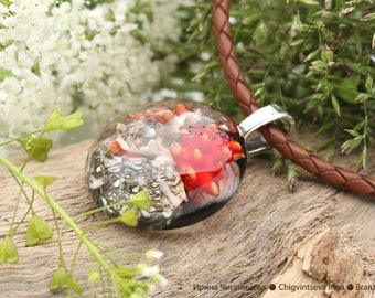 Coral reef - pendant Beads lampwork artisan implosion transparent red gray black