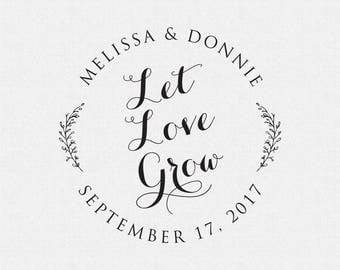Let Love Grow Stamp, Wedding Stamp, Wedding Decor, Wedding Favor, Wedding Seed Packet Stamp, Floral, Branch, Vines (T245)