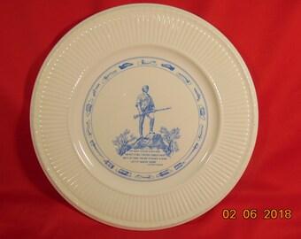 """One (1), 10 1/2"""", Wedgwood, The Lexington Minuteman, Bicentennial (1975) Issue, Souvenir Plate."""