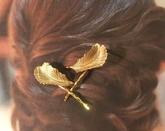 Decorative Hair Pins Jewelry Vintage 1960 Giovanni Woodland Leaf Bobby Pins