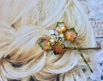 1stDayofSummerSALE Bridal Woodland Goddess Leaf Hairpins Bobby Pins Vintage 1940 1950 Molded Art Glass Wedding Bridesmaid