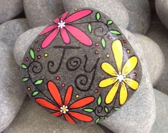 Happy Rock - joy - Hand-Painted Beach River Rock Stone - yellow daisy orange flower pink petunia