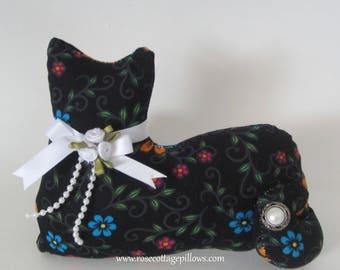 Cat Shelf Sitter, Pillow Tuck, Cottage Chic Black Floral Lace Cat, Cat Shape Pillow, Kitten Shelf Sitter, Cat Doll