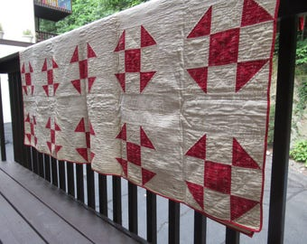 Antique Red and White Quilt, Shoo Fly Pattern, 80 x 70