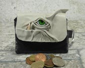 Leather Zippered Coin Purse Black Grey Change Purse Monster Face Pouch Key Ring Harry Potter Labyrinth