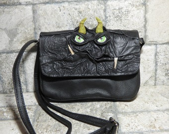 Small Cross Body Purse Messenger Bag With Face Harry Potter Labyrinth Monster Black Leather 415