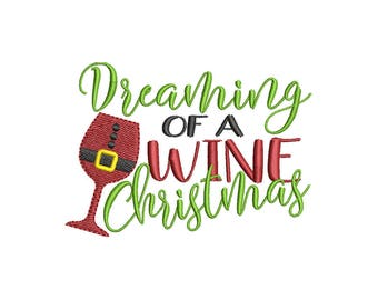 Wine Christmas Embroidery Design- Instant Download
