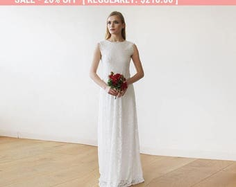 Sleeveless Ivory Floral lace Bridal Gown With Open Back 1141