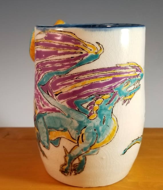 Dragon & baby mug, with dragon tail handle