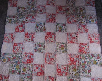 Handmade Flannel Rag Quilt Floral