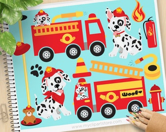 Fire Trucks Clipart, Fire and Rescue Dog, Dalmatian, firefighter, Fire Safety, Fire Engine, Commercial Use, Vector clip art, SVG Cut Files