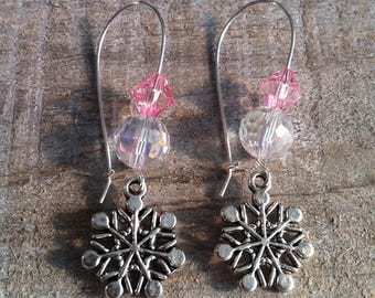 Snowflakes earrings large silvery clasps rose pale 2