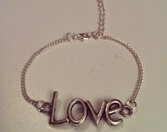 LOVE silver large chain bracelet