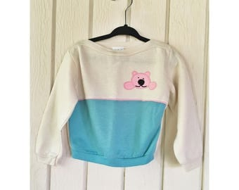 Vintage 1980s Knit-Mates Girls Peek-a-Bear Sweater Size 4T