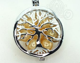 Family Tree Pearl Cage Necklace Silver Plated Locket Charm Tree of Life Mother Bead Cage