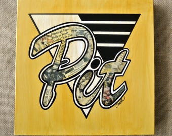 PITTSBURGH PENGUINS 2017 Stanley Cup Champions - 12x12 Mixed Media Vintage Newspaper Acrylic Painting