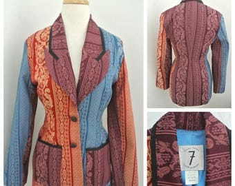 vtg TODD OLDHAM Times Seven Mixed print jacket M Multi-color Jacquard patchwork
