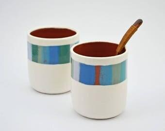 ON SALE ** Set of 2 Blue Stripe Cups - Ceramic Cups - Pottery Cups - Ceramic Tumblers