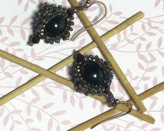 Brown Bead Earrings Brown Drop Dangles Brown Purple Dangles Beadwork Earrings Brown Bead Dangles Purple Bead Earrings Seed Bead Earrings