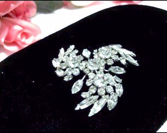 Sparkling Sherman Rhinestone Brooch - Vintage Sparkling Clear Stones  - Pin-2087a-070117045