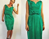 THE SUPER SALE 1960s Emerald Green Brocade Wiggle Cocktail Party Dress