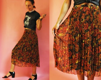 1980s Earthy Floral Pleated Chiffon Skirt