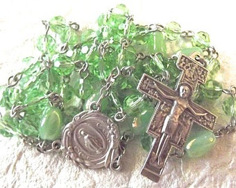 August/Peridot Lime Green Crystal Rosary