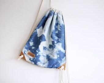 Reverse Shibori Drawstring Backpack - Rucksack - Day Bag - Summer Bag