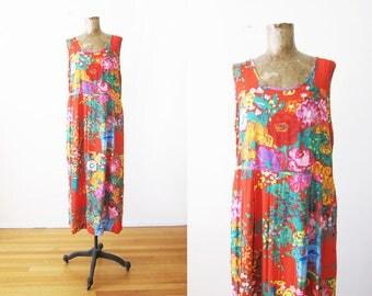 90s Jams World Maxi Dress - Rayon Maxi Dress - Floral Sundress - 90s Clothing - Pleated Long Dress - Red 90s Dress - Vacation Dress - L