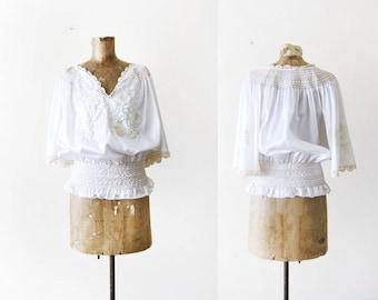Hungarian Peasant Blouse - Embroidered Peasant Shirt - Bohemian Blouse - Hippie Shirt - White Peasant Top - Boho Shirt - Large