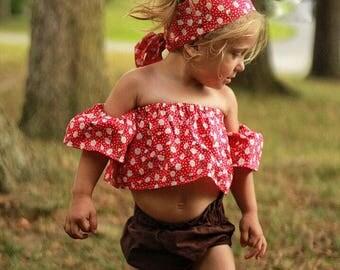 Daisy Crop Tube Cold Shoulder Off The Shoulder Girls Baby Toddler Top