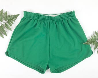 1980s athletic shorts, vintage NOS high waisted shorts, retro sporty hot pants, 80s sportswear, green shorts