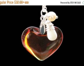SUMMER SALE Amber Heart Necklace in Silver. Golden Amber Heart Necklace with Wire Wrapped Teardrop and Pearl. Glass Heart Pendant. Handmade