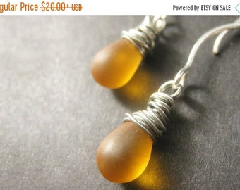 BACK to SCHOOL SALE Wire Wrapped Earrings: Frosted Amber Teardrop Earrings in Silver. Handmade Jewelry.