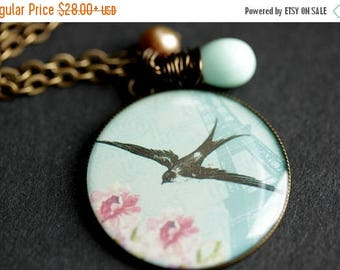 BACK to SCHOOL SALE Soaring Sparrow Necklace. Bird Pendant with Aqua Blue Teardrop and Pink Pearl. Charm Necklace. Bird Necklace. Bronze Nec