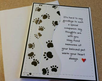 Handmade Sewn Sympathy Card For a Pet. Mourning for Pet. Grieving Loss of a Pet.Pet Loss