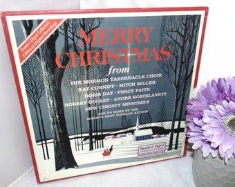 Vintage 1969 Vinyl Record 4 LP Boxed Set Merry Christmas Mormon Tabernacle Choir Doris day Percy faith and others Readers Digest