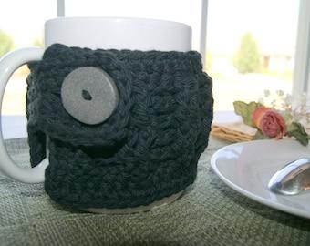 Coffee Mug Cozy - Black -  Crochet Drinking  Sleeve - Cup Wrap - Insulator for Kitchen Mug - Beverage Accessory - Thank You Gift