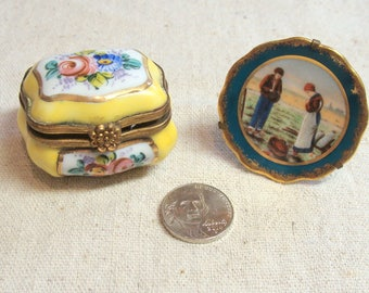 Pair Vintage Hand Painted French Porcelain Miniatures, Trinket Box and Plate on Stand, Lovely!