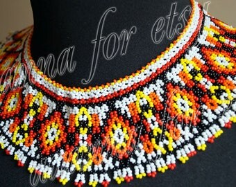 Necklace is bright with beads