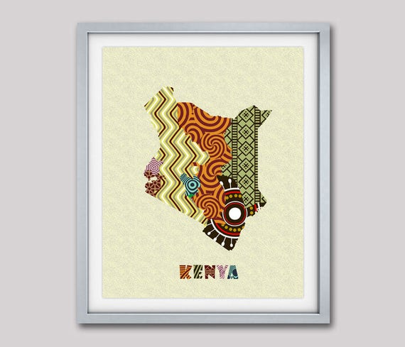 Kenyan Map With Counties Art Print Wall Decor, Kenyan Poster,  Nairobi Kenyan African Art Print, African Map Poster