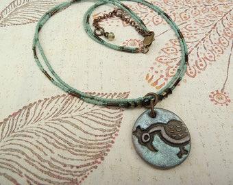Bead Necklace, Clay Pendant, Bird Pendant, Turquoise Necklace, Two Strand Necklace, Seed Bead Necklace, Boho Necklace, Sea Foam, Multistrand