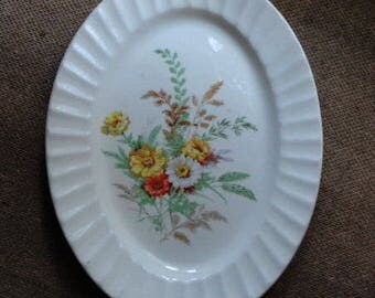 Vintage Oval Serving Platter, Dishes with Flowers, Farmhouse Table Setting, Cottage Wall Decor