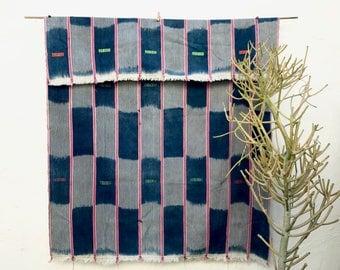 African Baule Cloth Blue Pink Vintage Textile African Fabric Indigo Textile Cotton Throw Hand woven Boho wall decor, tribal fabric 9