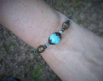 Blue bracelet, turquoise blue bracelet, gypsy bracelet, gift for her,birthday gift ideas,magnetite bracelet,turquoise jewelry, boho bracelet