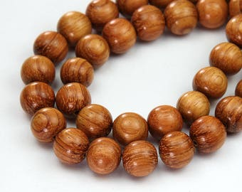 Bayong Wood Beads for Malas, Light Brown, 10mm Round - 15.5 inch Strand - eW683-10