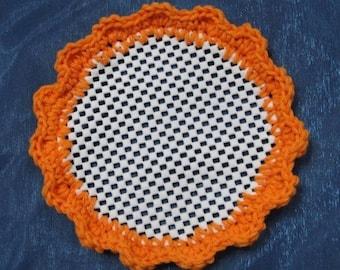 Lid Jar Bottle Opener Orange Crocheted Scalloped Kitchen Helper