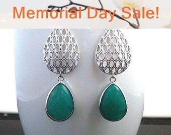 Dark Jade Silver Drop Earrings, Dangle earrings, Gemstone, wedding Earrings